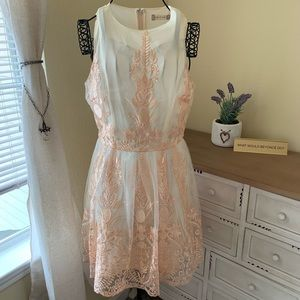 White Dress With Rose Gold Foil Embroidery